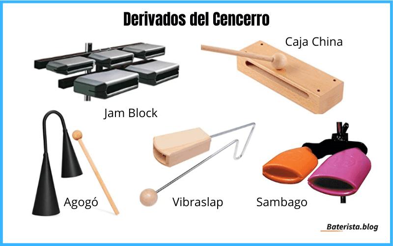 Instrumentos musicales derivados del cencerro o cowbell.
