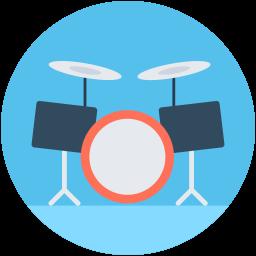 Bateria el instrumento: Icono de una batería dentro de un círculo celeste