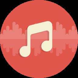 Canciones en las que el protagonista es la batería: Imagen de signo musical (corchea), en medio de un círculo rojo con una onda de audio.