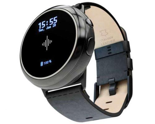 Metrónomo Soundbreener Core Steel con faja de cuero. Afinador cromático de contacto, Medidor de decibelios y Reloj.