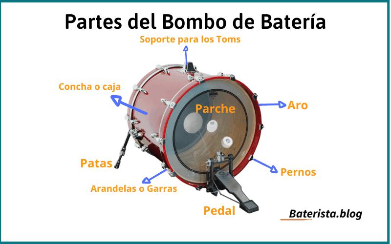 Partes del bombo de la batería. Imagen que muestra cada una de las partes de las que se compone el bombo de la batera Baterista.blog.